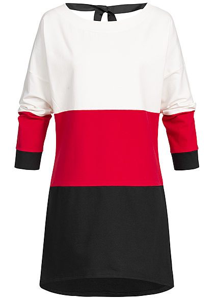 Styleboom Fashion Damen Oversized Longform Colorblock Sweater weiss rot schwarz