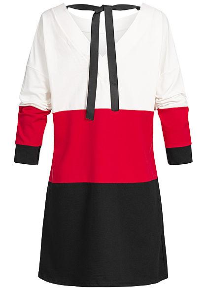 Styleboom Fashion Damen Oversized Longform Colorblock Sweater weiss rot schwarz