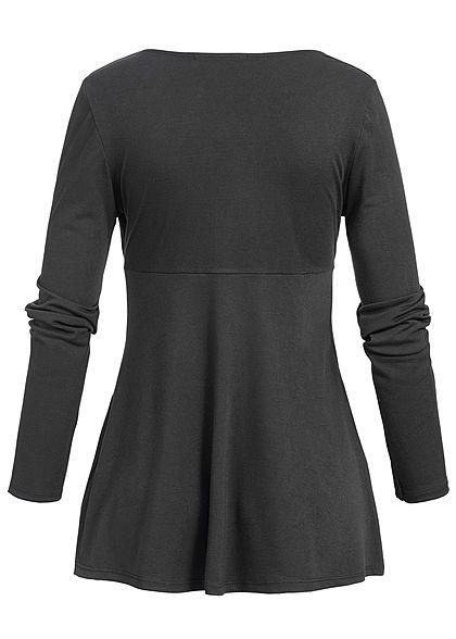 Styleboom Fashion Damen Wrapped Shirt schwarz