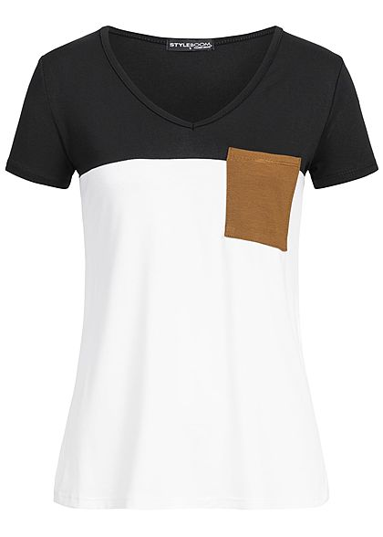 Styleboom Fashion Damen T-Shirt Colorblock Pocket schwarz weiss braun