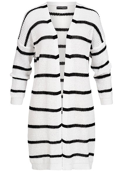 Styleboom Fashion Damen Long Striped Cardigan weiss schwarz