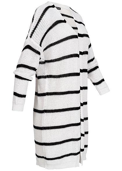 Styleboom Fashion Damen Long Striped Cardigan weiss schwarz