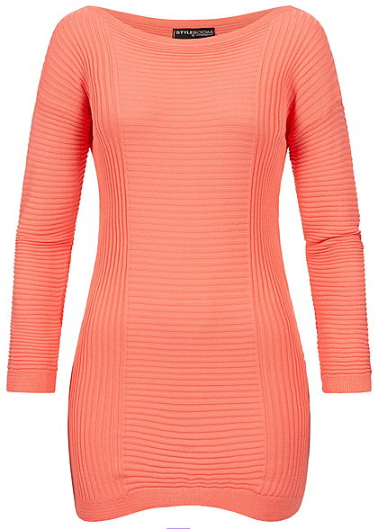 5e766a35144174 Styleboom Fashion Damen Longform Structure Sweater rosa pink