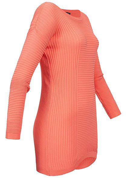 Styleboom Fashion Damen Longform Structure Sweater rosa pink