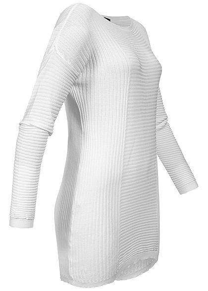 Styleboom Fashion Damen Longform Structure Sweater weiss