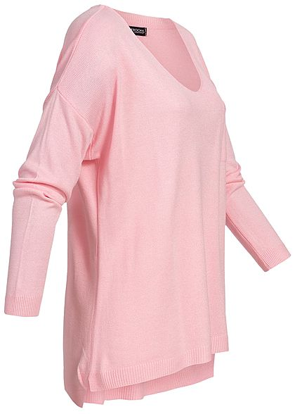 Styleboom Fashion Damen Basic Longshirt Pocket rosa