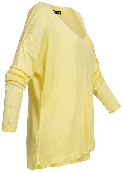Styleboom Fashion Damen Basic Longshirt Pocket gelb