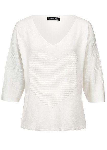 0ba494686d92cc Styleboom Fashion Damen Bat Wings Structure Heart Shirt weiss - 77onlineshop