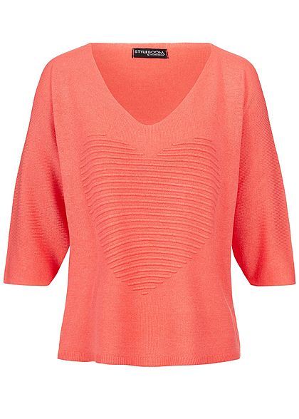 Styleboom Fashion Damen Bat Wings Structure Heart Shirt coral dunkel pink