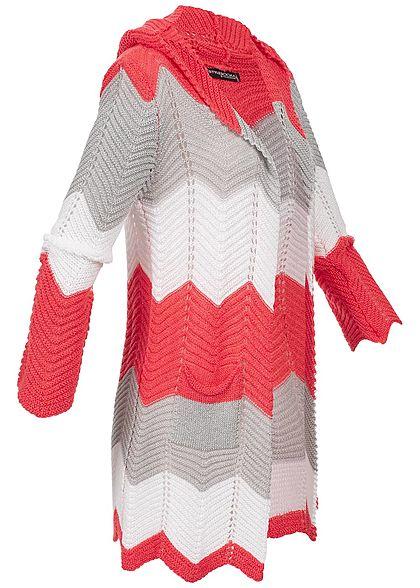 Styleboom Fashion Damen Colorblock Striped Cardigan coral pink grau weiss