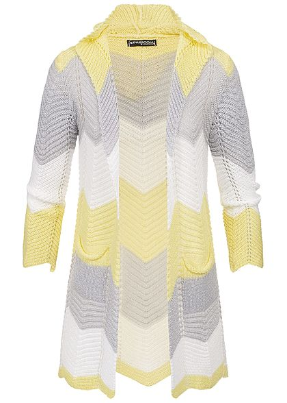 Styleboom Fashion Damen Colorblock Striped Cardigan gelb grau weiss