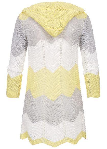 Styleboom Fashion Damen Colorblock Striped Cardigan gelb grau weiss