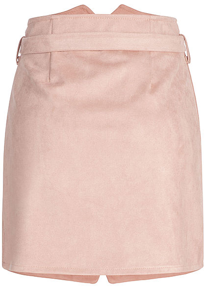 Styleboom Fashion Damen Velour Skirt Button Belt rosa