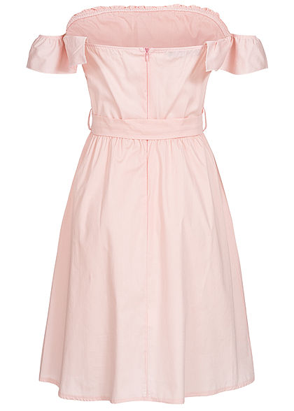 Styleboom Fashion Damen Off-Shoulder Button Dress rosa