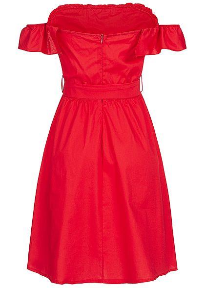 Styleboom Fashion Damen Off-Shoulder Button Dress rot