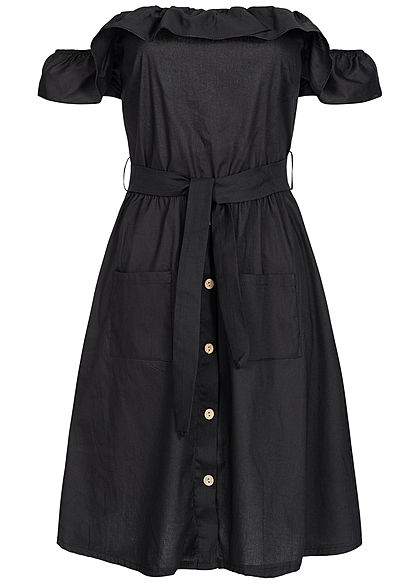 Styleboom Fashion Damen Off-Shoulder Button Dress schwarz