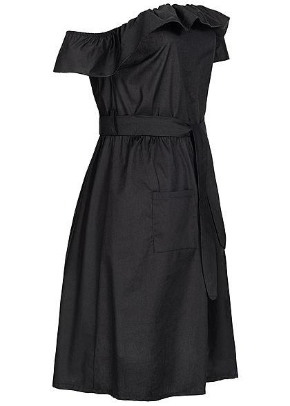 Styleboom Fashion Damen Off-Shoulder Button Dress schwarz