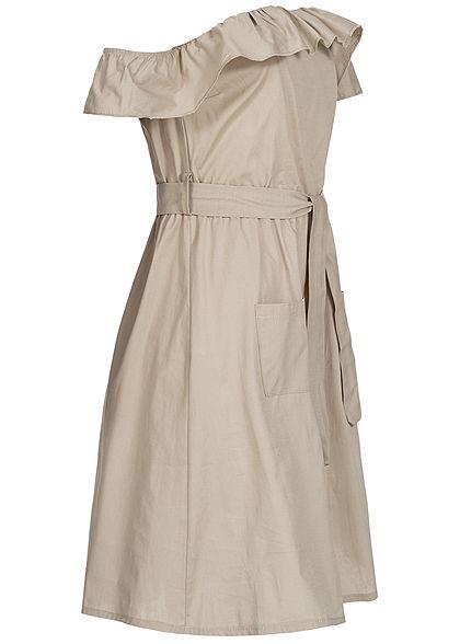 Styleboom Fashion Damen Off-Shoulder Button Dress beige