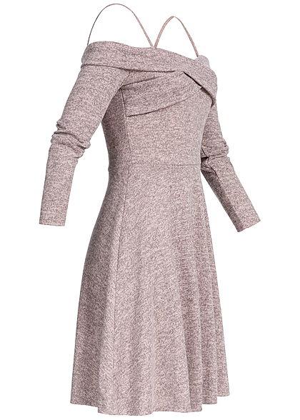 Styleboom Fashion Damen Off-Shoulder Criss Cross Dress rosa melange