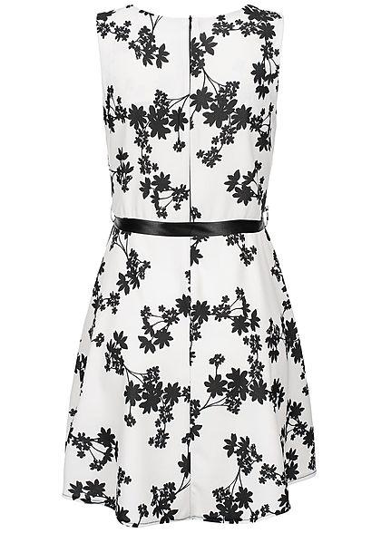 Styleboom Fashion Damen Dress Floral Print weiss schwarz