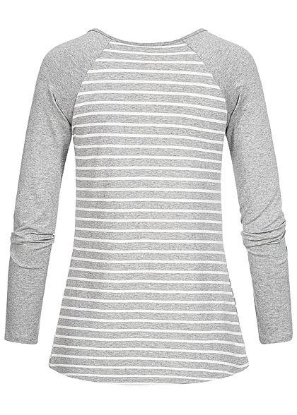 Styleboom Fashion Damen Striped Lace Shirt grau weiss