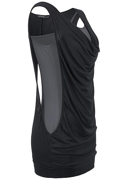 Styleboom Fashion Damen 2in1 Wasserfall Top schwarz grau