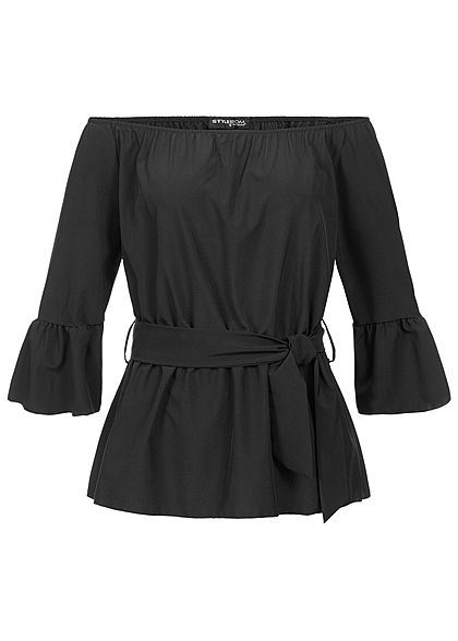 Styleboom Fashion Damen Off-Shoulder Blouse schwarz