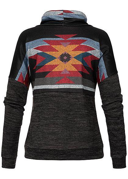 Styleboom Fashion Damen Turtleneck Aztec Sweater schwarz multicolor