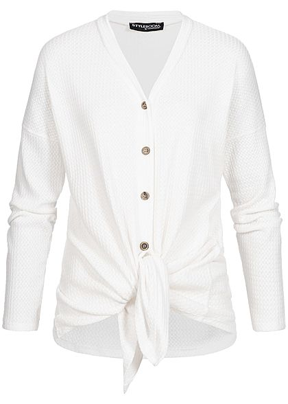 Styleboom Fashion Damen Tie- Knot Cardigan Buttons off weiss