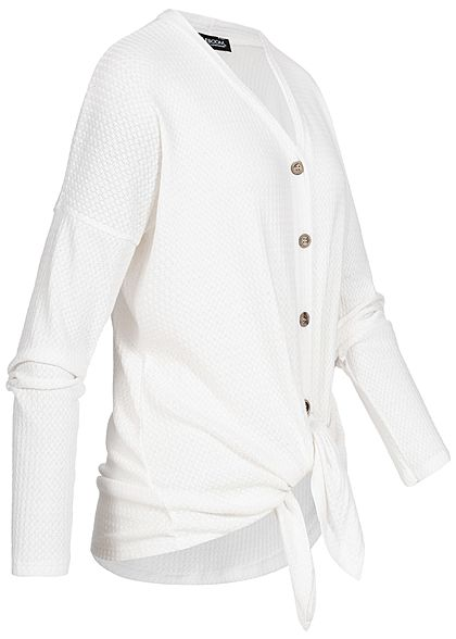 Styleboom Fashion Damen Tie- Knot Cardigan Buttons off weiss