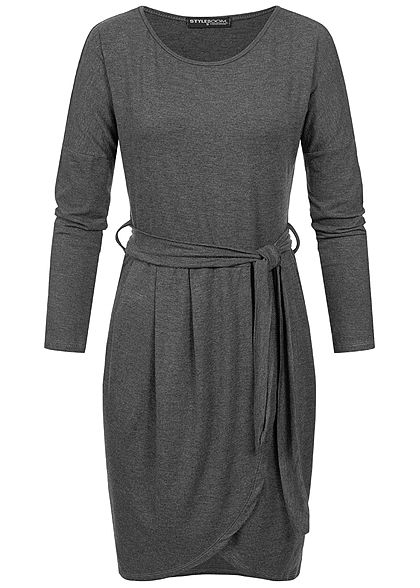 Styleboom Fashion Damen Longsleeve Dress Belt dunkel grau