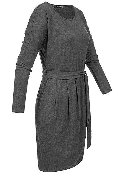 Styleboom Fashion Damen Longsleeve Dress Belt dunkel grau
