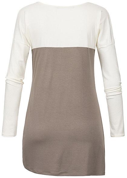 Styleboom Fashion Damen Twisted Front Longsleeve Leo Pocket braun beige