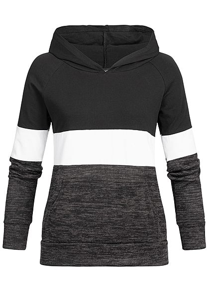 Styleboom Fashion Damen Hooded Colorblock Sweater schwarz weiss grau