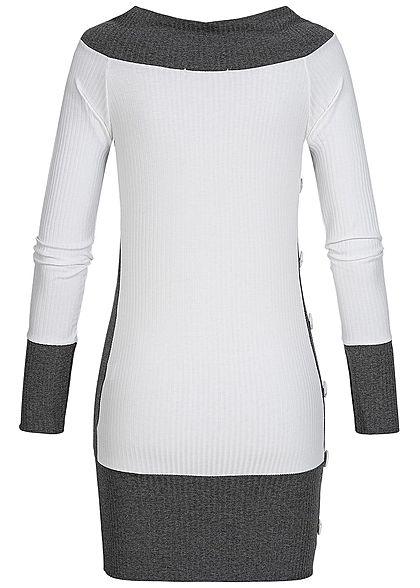 Styleboom Fashion Damen Off- Shoulder Ripped Shirt weiss dunkel grau
