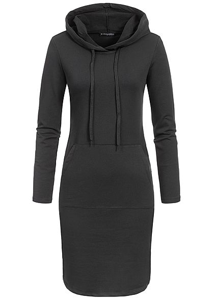 Styleboom Fashion Damen Basic Hoodie Dress schwarz