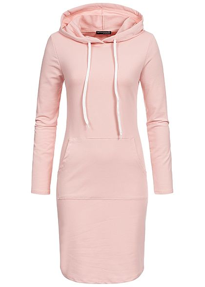 Styleboom Fashion Damen Basic Hoodie Dress rosa