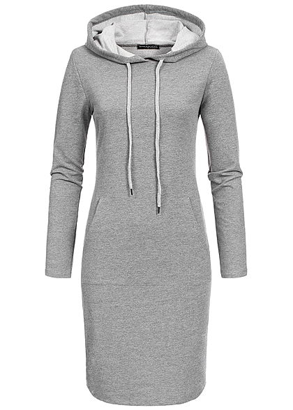 Styleboom Fashion Damen Basic Hoodie Dress dunkel grau