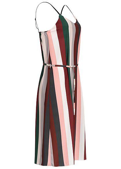 Styleboom Fashion Damen Multicolor Striped Dress rosa rot weiss grün grau
