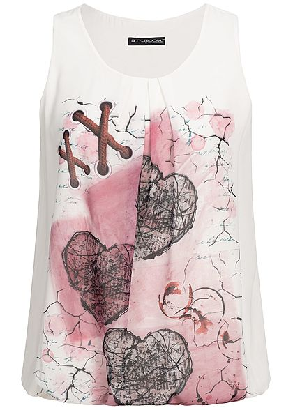Styleboom Fashion Damen Chiffon Top Love Print weiss rosa