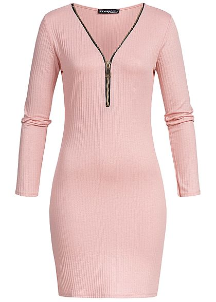 Styleboom Fashion Damen Bodycon Dress Big Zipper rosa