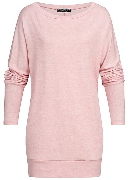 Styleboom Fashion Damen Oversized Off-Shoulder Bat Wings Dress rosa