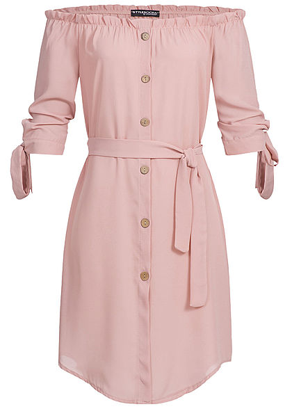 Styleboom Fashion Damen Off-Shoulder Bow Sleeve Dress Belt rosa