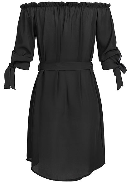 Styleboom Fashion Damen Off-Shoulder Bow Sleeve Dress Belt schwarz