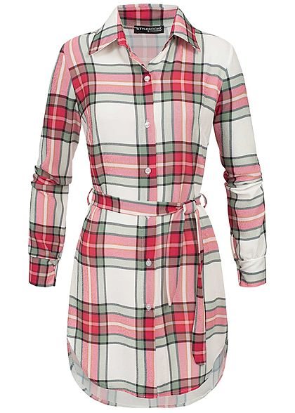 Styleboom Fashion Damen Multicolor Check Dress weiss pink grün