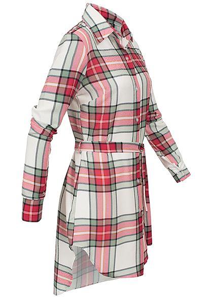 Styleboom Fashion Damen Multicolor Check Dress weiss pink grün
