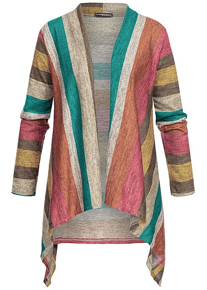 Styleboom Fashion Damen Multicolor Stripe Cardigan rot grün grau