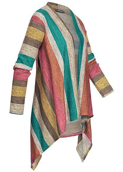 Styleboom Fashion Damen Multicolor Stripe Cardigan rot grün grau