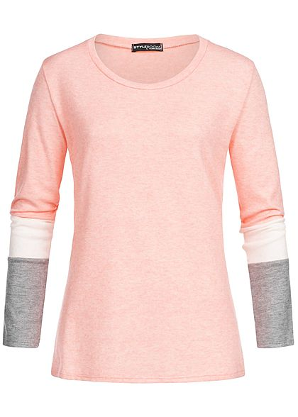 Styleboom Fashion Damen Colorblock Longsleeve rosa weiss grau