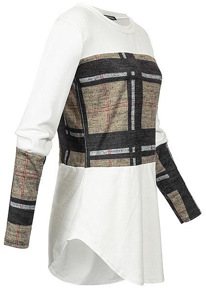 Styleboom Fashion Damen Plaid Check Longsleeve off weiss
